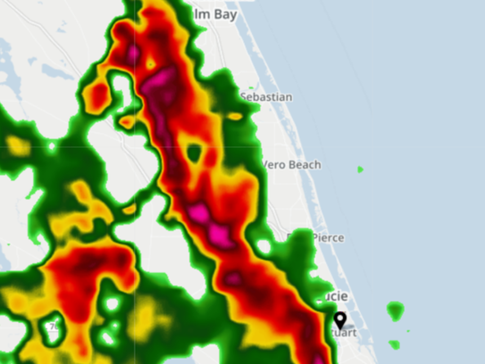 Heavy rains were moving into the area about 4:30 p.m.