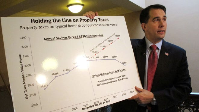 Gov. Scott Walker holds a chart showing how much property taxes have dropped for a typical homeowner in Wisconsin on Dec. 17 in Madison.