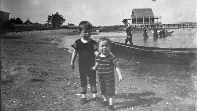 Bathers at the Duxbury Yacht Club on Freeman Place, circa 1900
