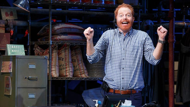 "Jessie Tyler Ferguson in a scene from his one-man show, ""Fully Committed,"" at the Lyceum Theatre in New York."