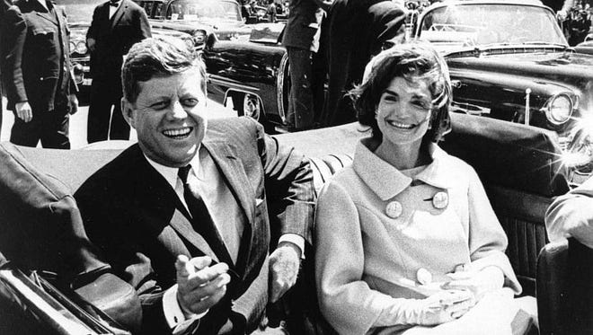 A handout photo made available by John F. Kennedy presidential Library shows President John F. Kennedy and first lady Jacqueline Kennedy following arrival ceremonies for H. E. Habib Bourguiba, President of Tunisia, at Blair House, in Washington, D.C., on May 3, 1961.