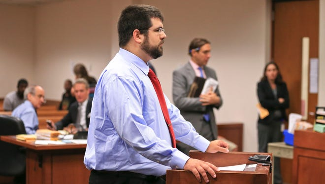"""Matthew Heimbach, accused of harassing a Donald Trump protester during a 2016 rally in Louisville, appeared in court Wednesday morning at the Hall of Justice. Heimbach said afterwards that """"given Mr. Trump has betrayed a lot of his campaign promises I wish I had never been there to support him in the first place but when it comes to the conduct of that day, no regrets."""""""