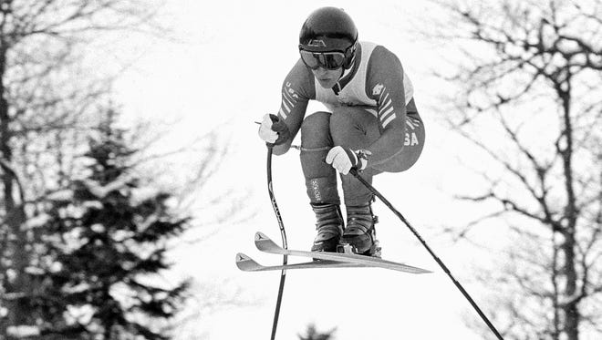 This Feb. 6, 1984, file photo shows American Olympic downhill skier Bill Johnson during the third training run for the Winter Olympic alpine skiing events, near Sarajevo, Bosnia-Herzegovina. The U.S. ski team says the former Olympic downhill champion has died after a long illness. He was 55.