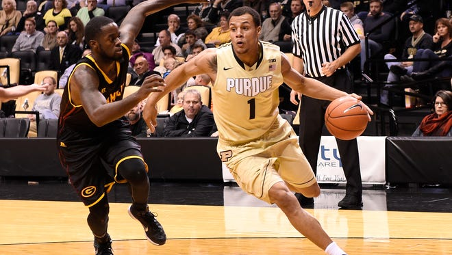 Purdue sophomore guard Bryson Scott (1) is back in uniform for today's game against North Florida.