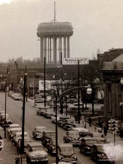 The main water tower for the city of Muncie under construction