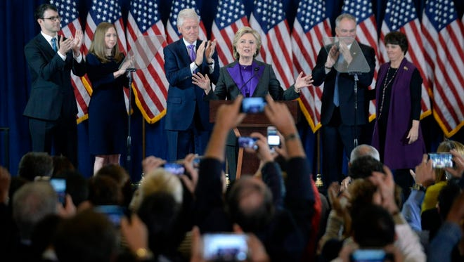 Hillary Clinton delivers her concession speech in New York on Nov. 9, 2016.