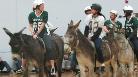 A donkey basketball fundraiser for Gervais Middle School