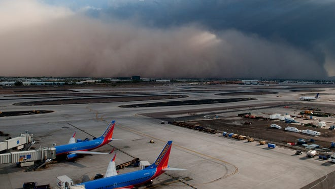 A dust storm -- or 'haboob' -- at Phoenix Sky Harbor Airport.