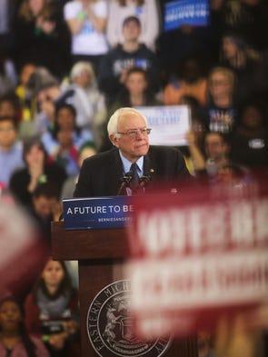 Democratic Presidential candidate, Bernie Sanders makes