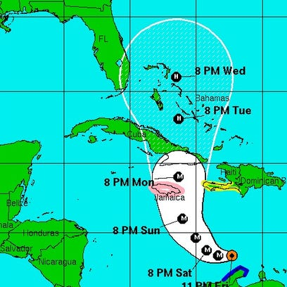 The cone of probability for Hurricane Matthew as predicted