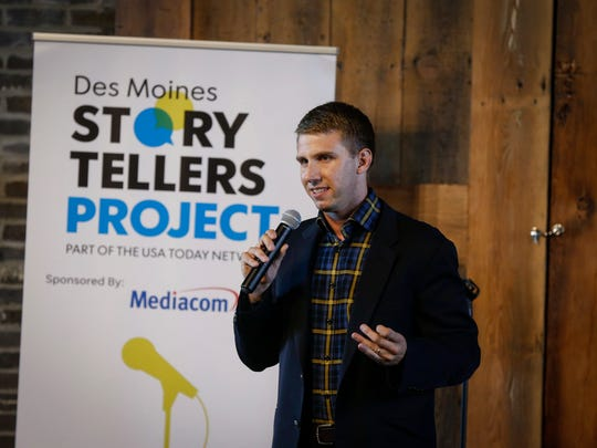 Brad McDonald shares his story of raising pigs during the Des Moines Storytellers Project at the River Center on Thursday, July 12, 2018, in Des Moines.