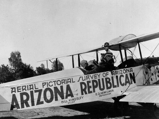 E.D. Newcomer was the first Arizona Republican photographer. A fascinating project he did was an aerial survey of the state in 1928 with pilot Bill Kingsley. The collection is archived today at the Hayden Library in Tempe.