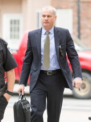 Tioga County District Attorney Kirk Martin arrives at the Schoharie County Courthouse in May 2015 during the third Cal Harris trial.