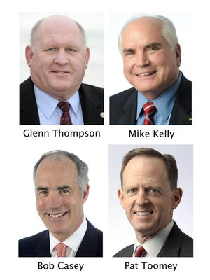 Clockwise from left, these are file photos of: U.S. Rep. Glenn Thompson, R-15th Dist.; U.S. Rep. Mike Kelly, R-16th Dist.; U.S. Sen. Pat Toomey, R-Pa.; and U.S. Sen. Bob Casey, D-Pa. CONTRIBUTED/