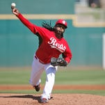 Reds starting pitcher Johnny Cueto delivers during a spring training game on March 5 in Goodyear.