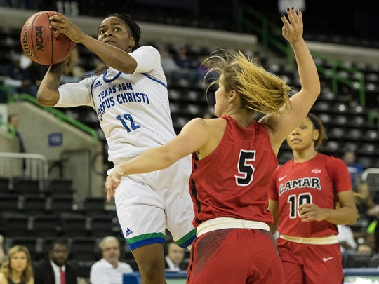 Texas A&M-Corpus Christi's Dae Dae Evans jumps to take