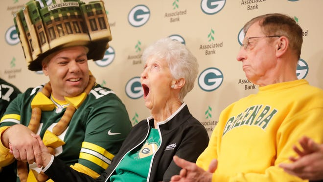 Marguerite Bachhuber of Green Bay reacts as she is as honored as the 20th member of the Green Bay Packers fan hall of fame at Lambeau Field on Tuesday, February 13, 2018 in Green Bay, Wis.Adam Wesley/USA TODAY NETWORK-Wisconsin