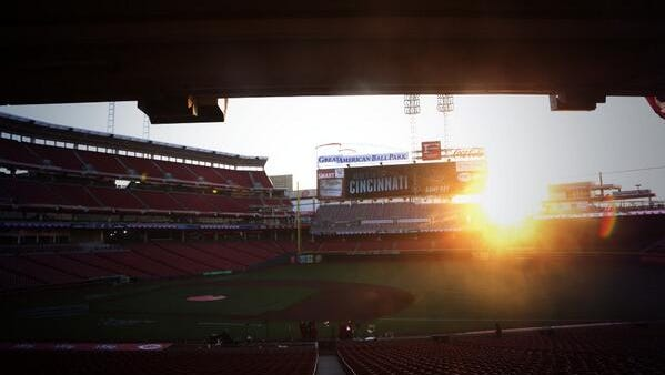 The sun rises over Great American Ball Park on Opening Day.