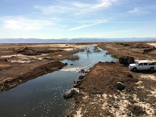 This canal carries water from the Sea of Cortez to a lake basin called the Laguna Salada near Mexicali, Mexico.