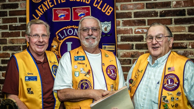 Lions Club members Ted Modica, left,  Claude Ledet and Gene Miller.