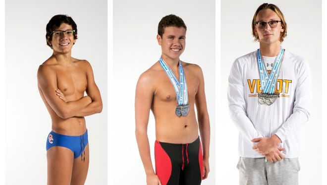 The News-Press All-Area Boys Swimmer of the Year finalists are (from left) Steven Rua, Brandon Peacock and Matthew Strickland.