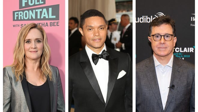Samantha Bee, left, Trevor Noah and Stephen Colbert are among the late-night comics who have been sharp critics of President Donald Trump.