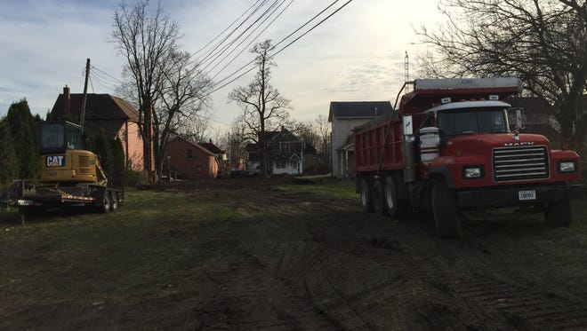 This is the view from the rear of the property that once held a double house at 28 and 30 N.W. E St. It was recently removed through the Blight Elimination Program.