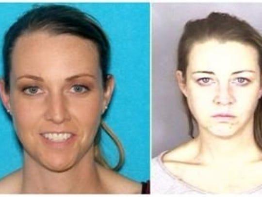 Erin Wells, in DMV photo, left, and mug shot, right