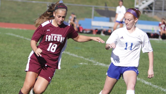 Action during a Section 1 girls soccer game between Pearl River and Albertus Magnus at Pearl River High School on Saturday, Sept. 17th, 2016. The teams played to a scoreless draw.