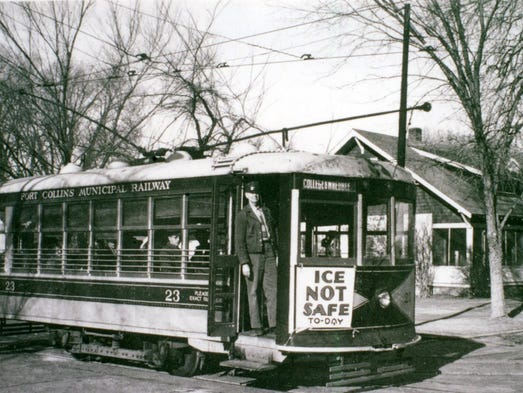 """A Fort Collins streetcar on the Whedbee Loop carries a sign reading """"Ice not safe today"""" to alert potential skaters to conditions at Sheldon Lake. This streetcar loop ran from 1919 to 1951"""