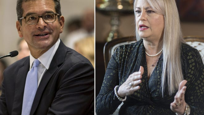 Pedro Pierluisi, left, and Wanda Vazquez both served as replacement governors in the wake of a Puerto Rican political crisis and are competing against each other for a chance to win the job in their own right in primary elections on Sunday.