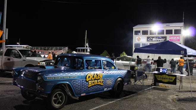 """Larry Noel's 1955 Chevrolet, known as """"Crazy Horse,"""" sits at the Southeast Gassers tent at the Coffee and Cars meet at Carolina Dragway on Saturday, Oct. 3."""
