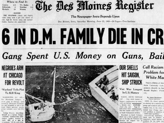 A Des Moines Register headline June 22, 1968, announces