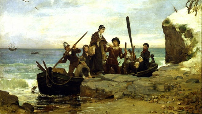 """""""The Landing of the Pilgrims,"""" a painting by Henry A. Bacon"""