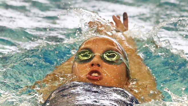 Makayla Sargent, 18, of Victor, swims laps during one of her daily training sessions with the Victor Swim Club at the Victor Aquatic Center Monday, June 20, 2016. Makayla is headed to the Olympic Trials in Nebraska at the end of June.