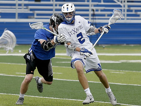 St. Xavier attacker Duke Alf is challenged by Kilbourne's
