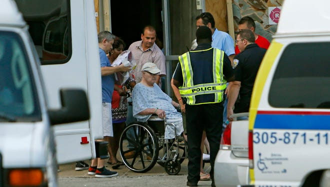 Evacuating a nursing home in North Miami Beach on Sept. 13, 2017.