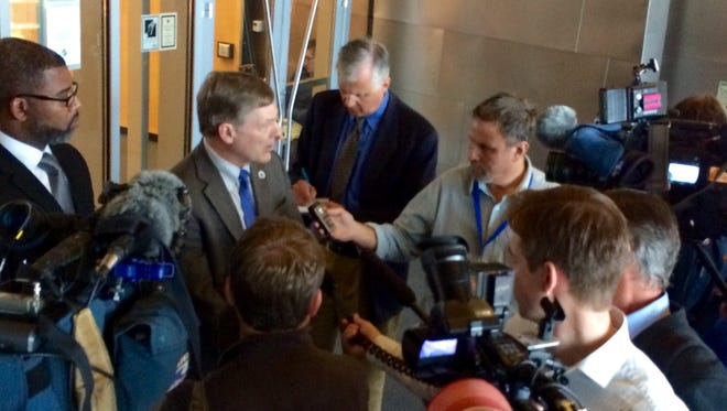 Seattle City Attorney Pete Holmes talks to reporters on Monday, Sept. 22, 2014, after the city threw out nearly 100 citations issued for public marijuana consumption over concerns that one officer wrote most of them, and that he might have acted arbitrarily.