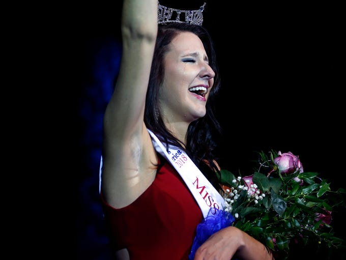 Hannah Ashbeck cries tears of joy after she was crowned