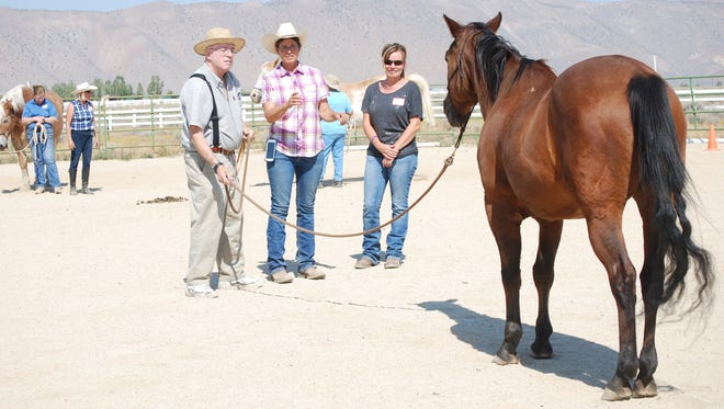 Navy veteran Marvin Mendonca, left, works with Sierra Nevada Horses and Heroes program director LuAnn Rieter-Leslie and program volunteer Crissy Gibbons at a recent training session at the Galas Z-Bar Ranch in Spanish Springs.
