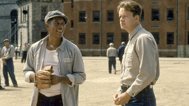 (L-R) Morgan Freeman and Tim Robbins in a scene from the motion picture 'The Shawshank Redemption.'