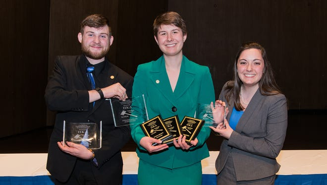 Ripon College students who competed in the forensics tournament were, from left: Ryan Edquist '17, Katie Warczak '16 and Megan Ringo '18.