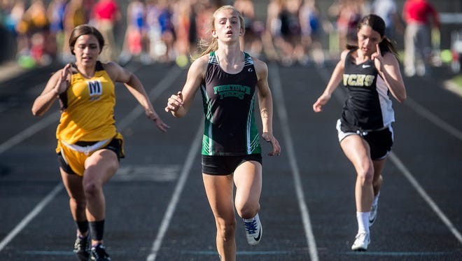 Yorktown's Carley Culberson sprints in the girls track sectional at Delta High School Tuesday, May 15, 2018.