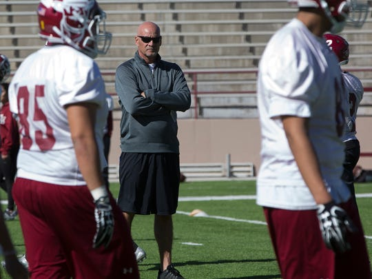 NMSU Head Coach Doug Martin and the Aggies opened spring practice on Saturday at Aggie Memorial Stadium.