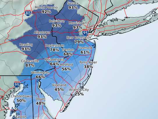 The likelihood for at least a dusting of snow on Saturday