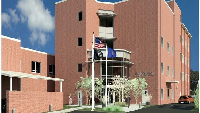 This drawing depicts the entrance to the utility department addition at Chambersburg  Borough Hall.