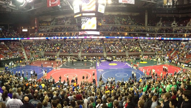 Quarterfinal action is underway at the state wrestling meet