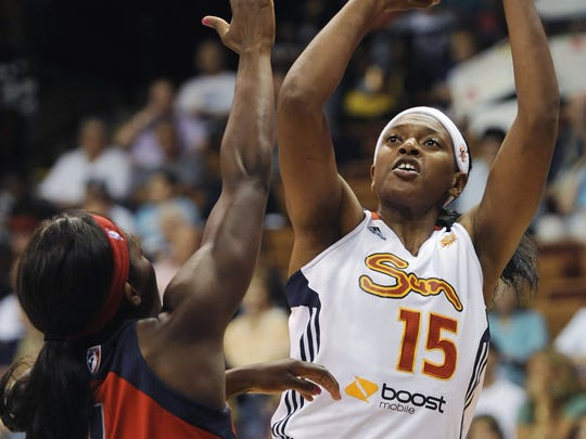 Piscataway graduate Asjha Jones plays for the Connecticut Sun in the WNBA in 2012.