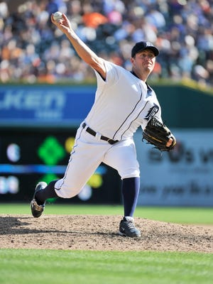 Tigers pitcher Jordan Zimmermann tossed scoreless innings in the seventh and eighth before giving up a single run in the ninth.