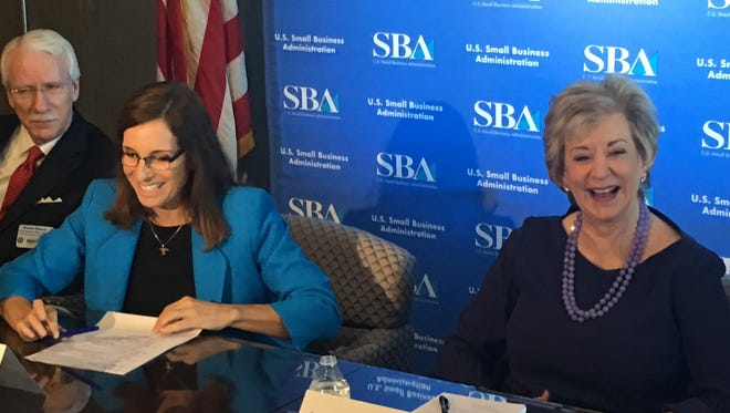 Rep. Martha McSally, left, appeared on Nov. 10, 2017, with Linda McMahon, who oversees the Small Business Administration for President Donald Trump.